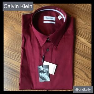 Men's Garnet Colored Button Up Down Fitted Dress